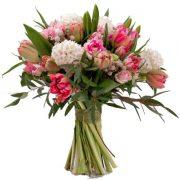 Buchete lalele, trandafiri roz, zambile, Brunia, Eucalypt