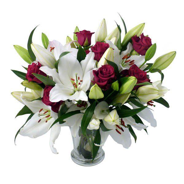 buchet crini albi si trandafiri