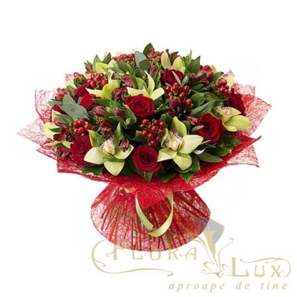 buchet orhidee cu trandafiri rosii