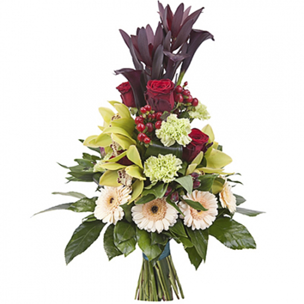 buchet orhidee,gerbera,leucadendron si cale
