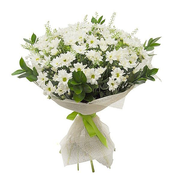 buchet crizanteme albe