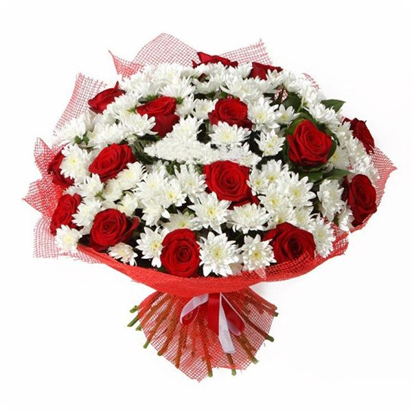 buchet crizanteme si trandafiri