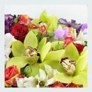 cos cu trandafiri rosii, orhidee, alstroemeria, Salal 2