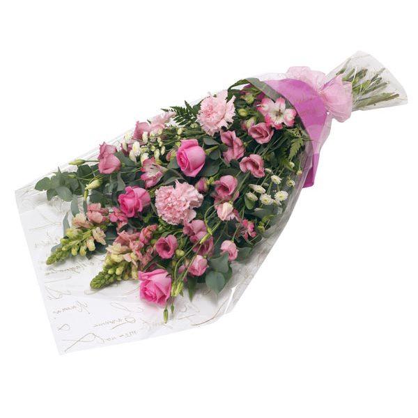 Buchet trandafiri si garoafe roz