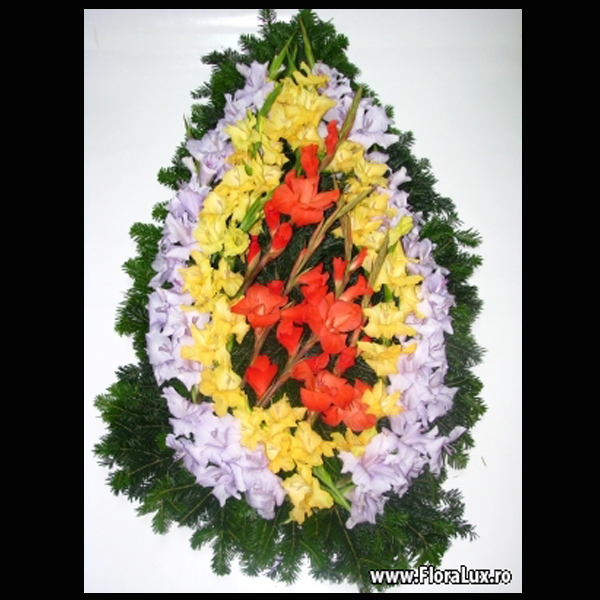 coroana funerara crini si gladiole