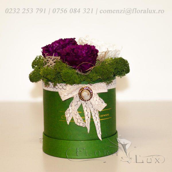 cutie cu trandafiri criogenati