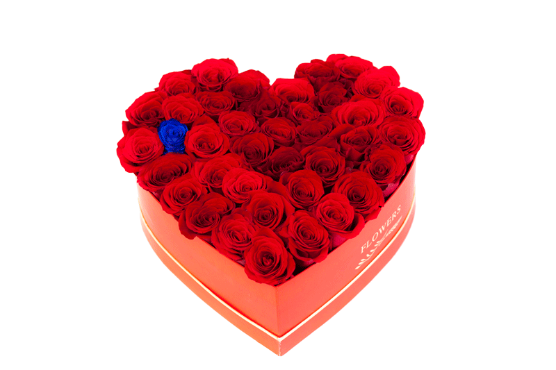 inima de trandafiri rosii