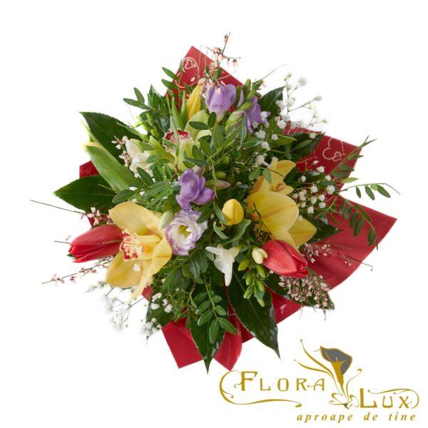Buchet lalele, frezii, orhidee