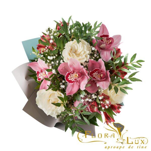 Buchet cu orhidee si trandafiri